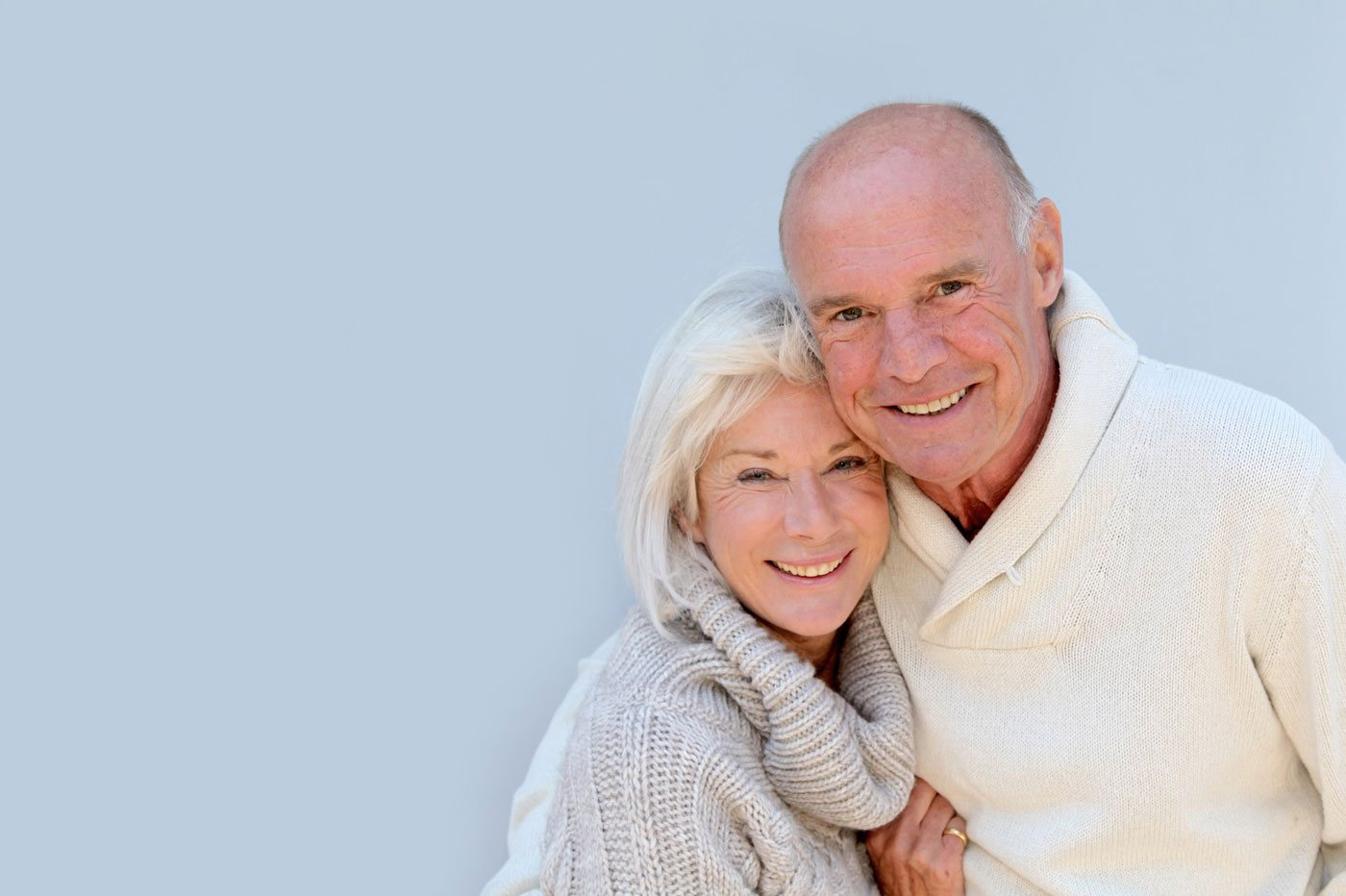 Senior Couple with Blue Background